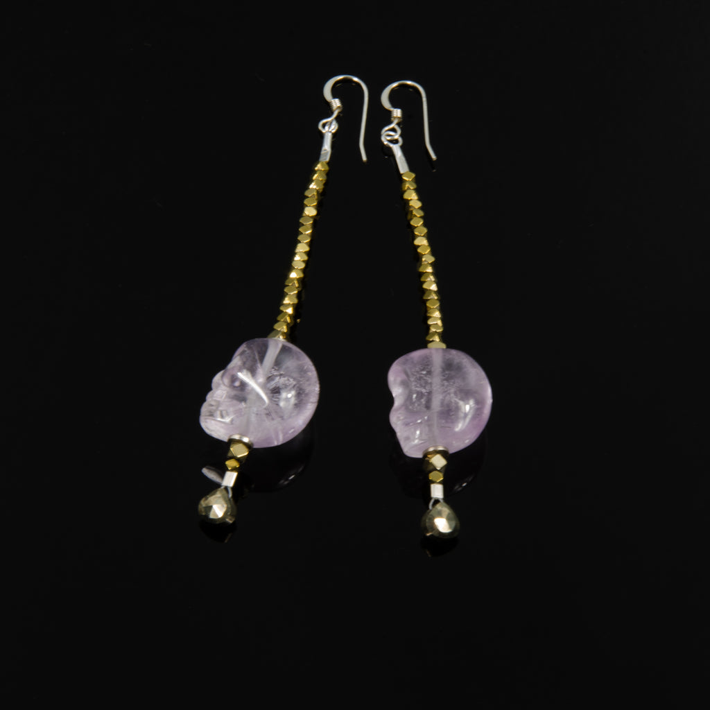 Amethyst Skull drop earrings