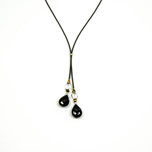 Charm - Black Spinel and Clear Quartz