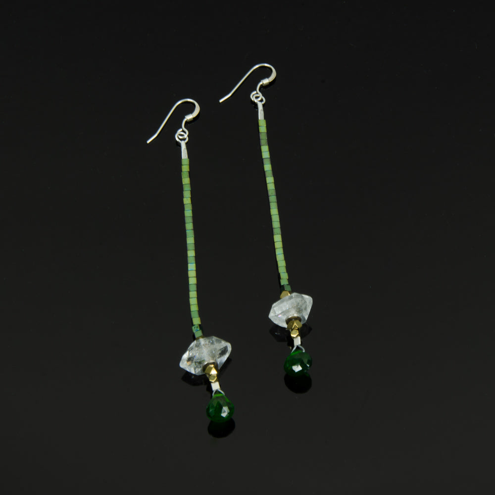 Herkimer Diamond drop earrings with Chromo Dioptase