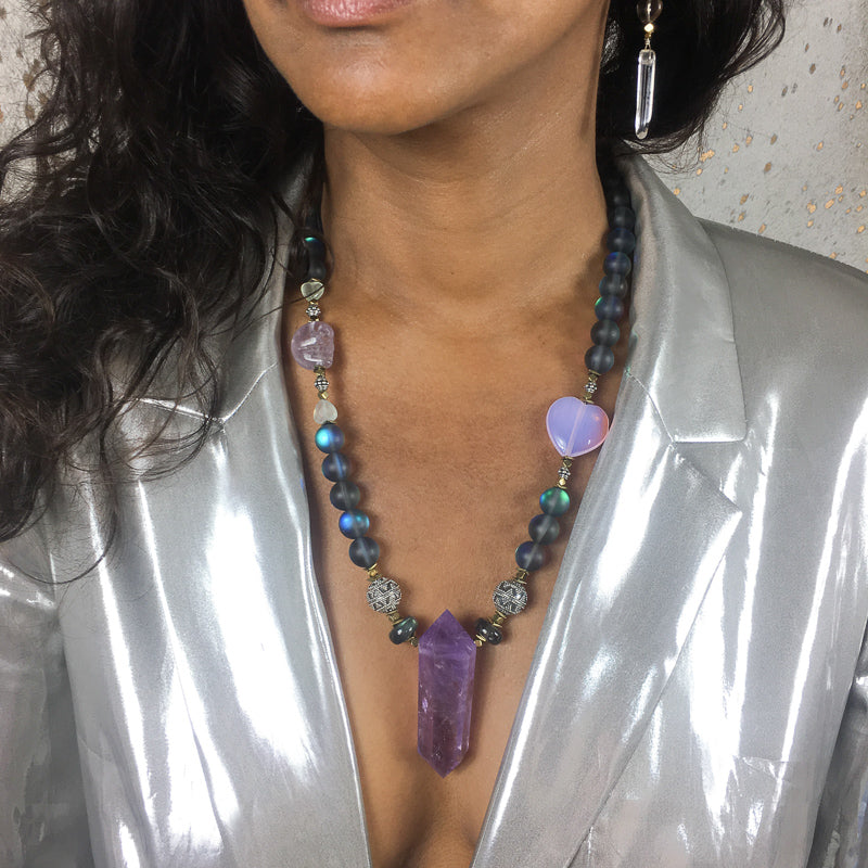 Joodaboo Original - Ametrine and Petrol Blue Australian Quartz