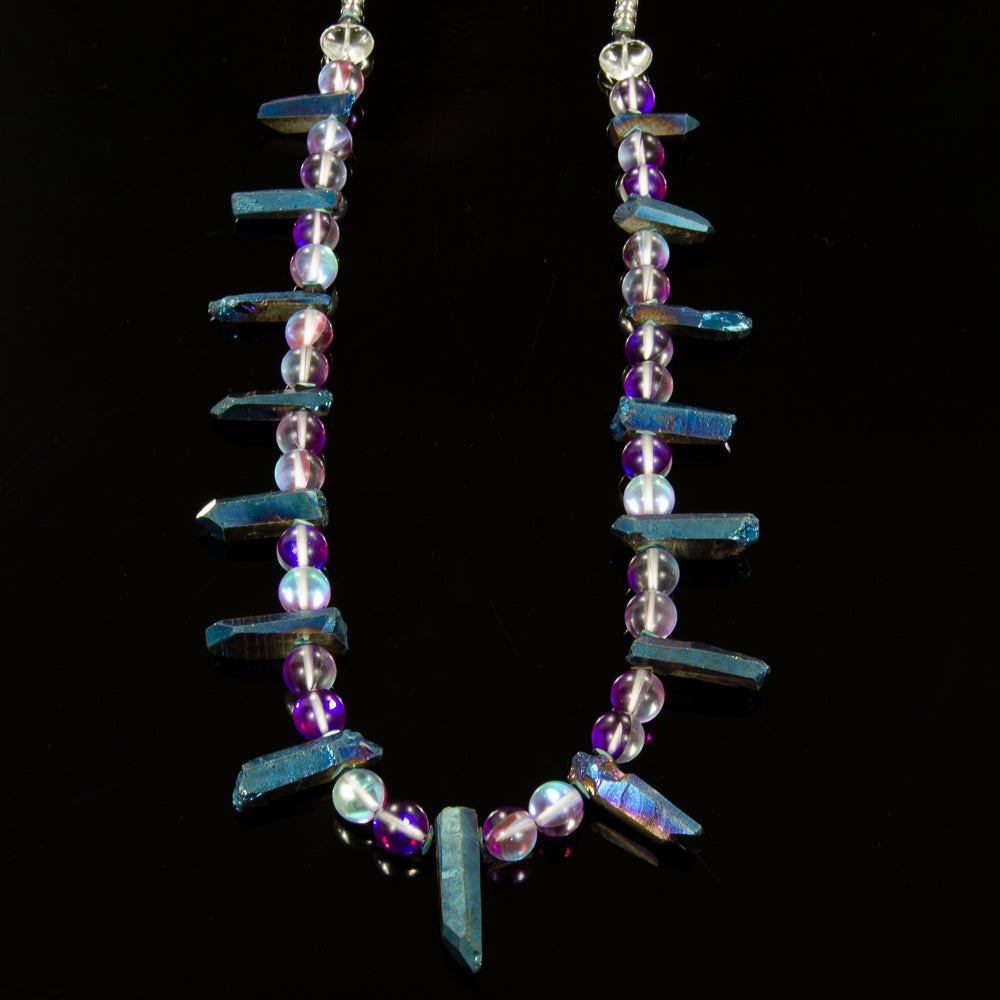 Teeth - Purple & Aqua Australian Quartz & Electroplated Blue Quartz