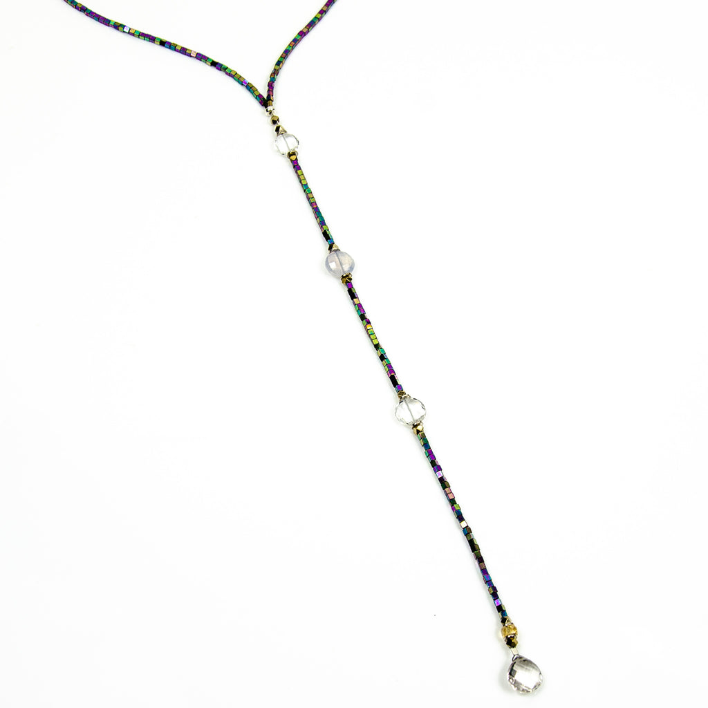The Drop 2 - Quartz and Multi-coloured Electroplated Hematite