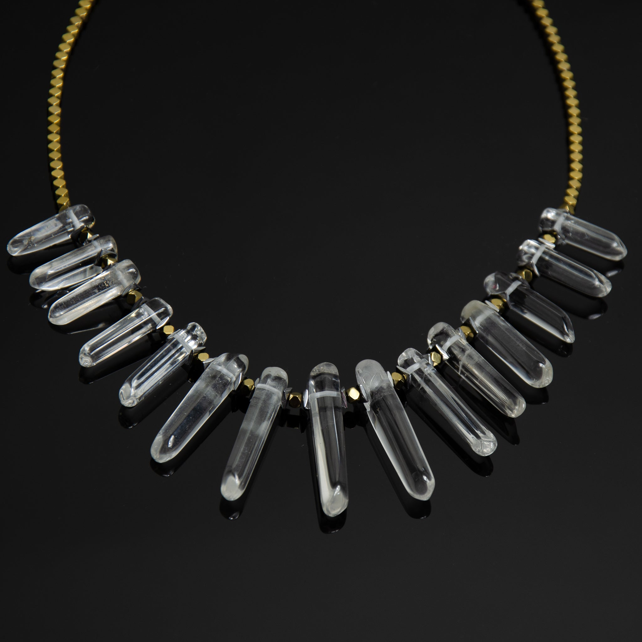 Warrior - Clear Quartz & Electroplated Gold Hematite