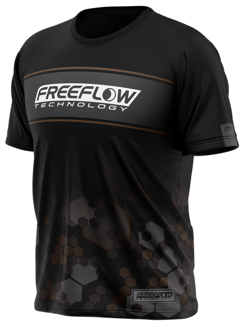 Freeflow Black Brown Stripe Hex Tech Shirt