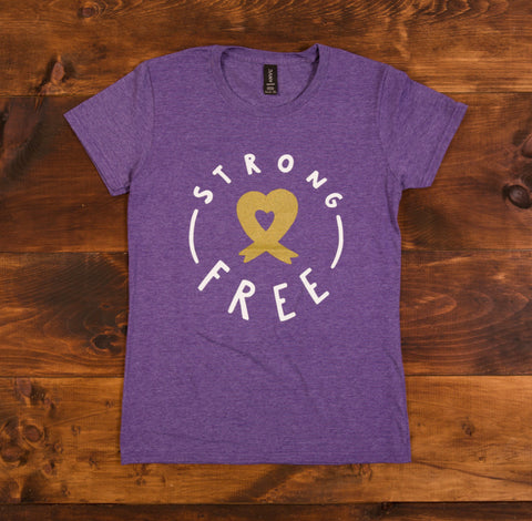 Strong & Cancer Free - Unisex T-Shirt Black/Heather Purple