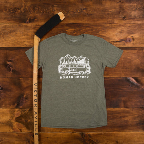 Road Trip T-Shirt - Military Green/Heather Navy/Black