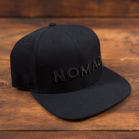 Nomad Flat Bill Hat - Black on Black