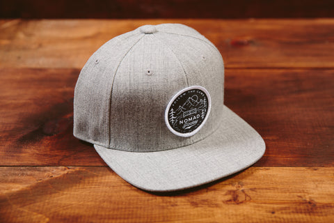 Snapback Flat Bill Hat - Heather Grey