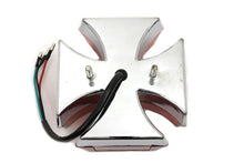Maltese LED tail lamp with red lens and chromed housing.