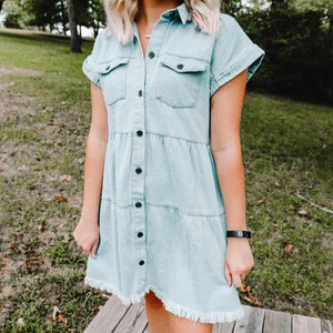 Lost In A Memory Denim Tiered Dress