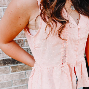 Pretty As Can Be Blush Eyelet Tank - Front Porch Boutique