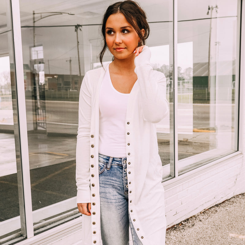 The Perfect Button Cardigan In White - Front Porch Boutique