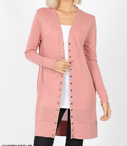 The Perfect Button Cardigan In Mauve