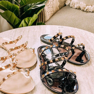 Just My Type Black Sandals With Gold Detail