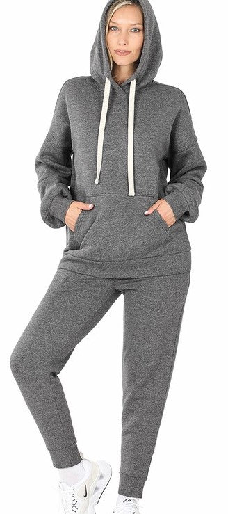 HOODIE & JOGGER PANTS SET IN CHARCOAL