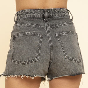 Frayed Denim Shorts In Black