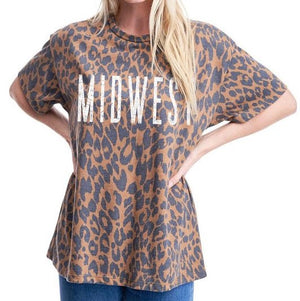 MIDWEST BROWN LEOPARD GRAPHIC TEE
