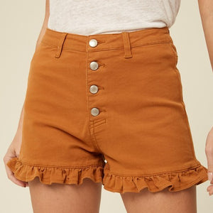 BUTTERSCOTCH RUFFLE HEM DENIM SHORTS - Front Porch Boutique