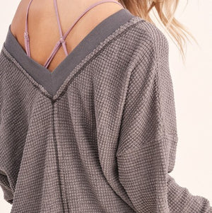 Holly Waffle Top in Charcoal