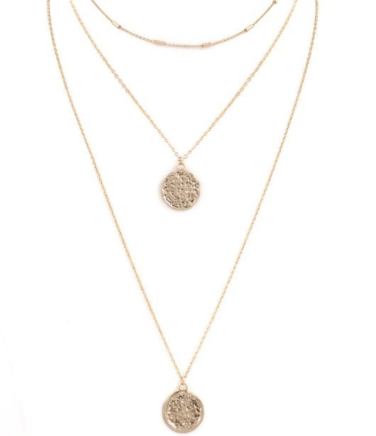 Worn Gold Coin Layered Necklace