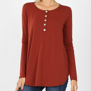 Henley Dark Rust Sleeve Button Top