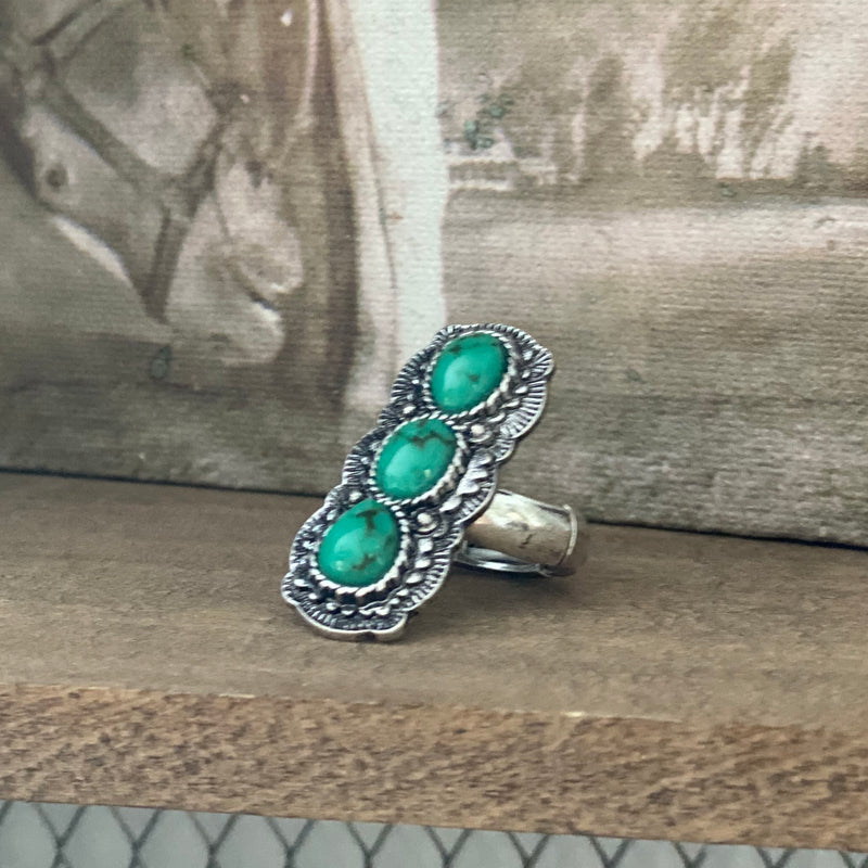 Western Oval Shape Turquoise Stretch Ring