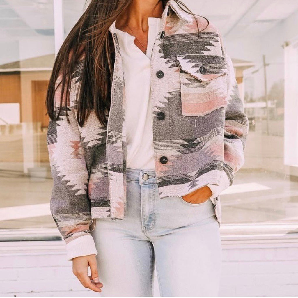 Aztec Pink And Grey Pattern Jacket