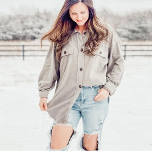Hold Me Tight Button Up Flannel Top In Fog - Front Porch Boutique