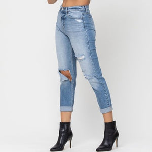High Rise Distressed Roll Cuff Crop Mom Skinny