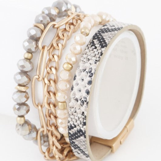 Multi Bangle Snakeskin Bracelet
