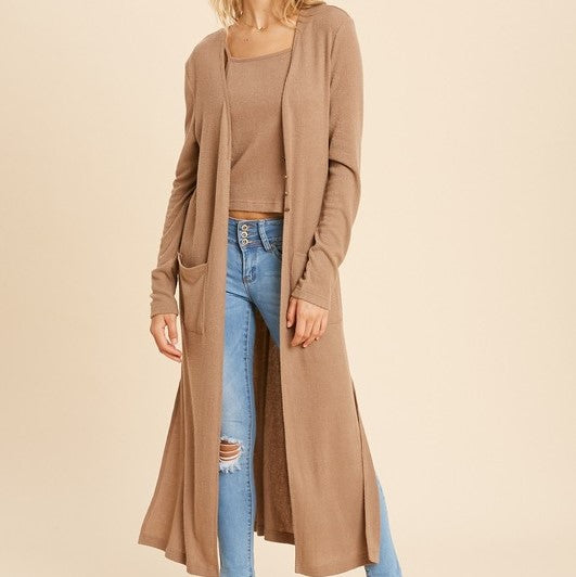TAUPE RIBBED DUSTER CARDIGAN AND CAMISOLE SET