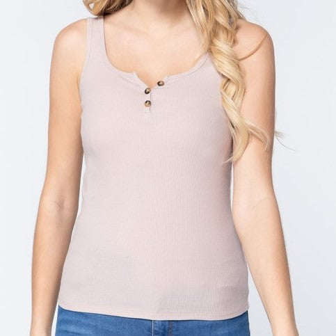 Light Taupe Henley Tank
