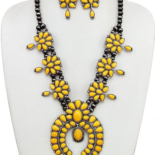Yellow Squash Blossom Necklace Earrings Set