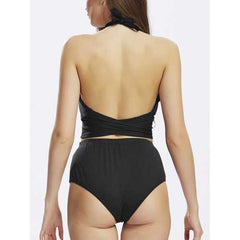 Sexy Halter Backless Criss Cross Vintage High-Waisted Two-Piece Bandage Retro Monokini Swimwear