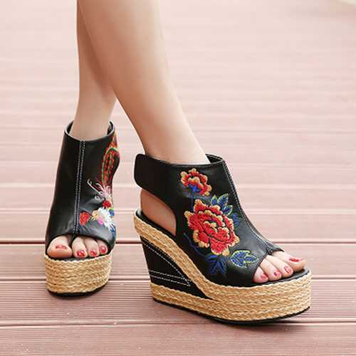 Women Summer Flower Embroidery National Wind Hollow Out Peep Toe Platform Sandals