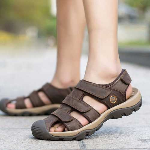 Men Leather Outdoor Beach Magic Stick Sandals Fisherman Breathable Sport Shoes