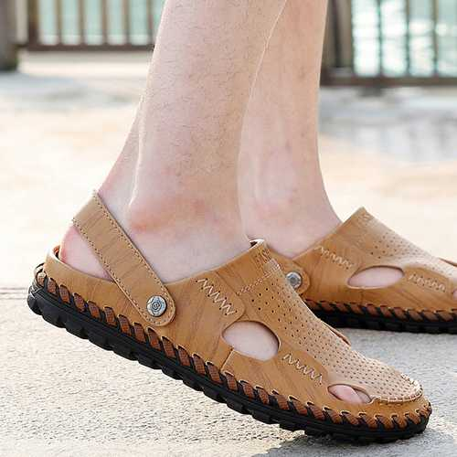 Men Summer Leather Sandal Casual Round Toe Outdoor Flat Fashion Soft Beach Slipper