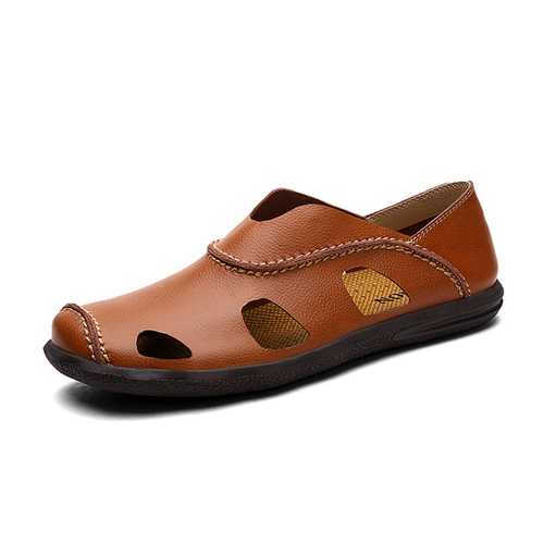 Men Summer Breathable Casual Outdoor Beach Soft Leather Fashion Comfortable Sandals Shoes