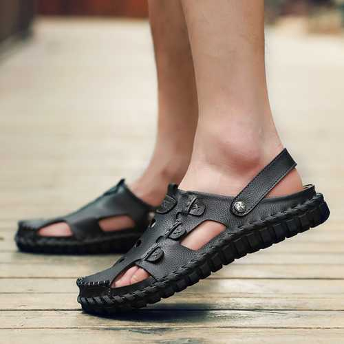 Men Soft Leather Buckle Sandals Breathable Outdoor Beach Sandals