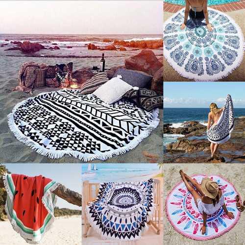 150cm Pure Cotton Cut Pile Printing Round Beach Towel Yoga Mat Bed Sheet Tapestry Tablecloth