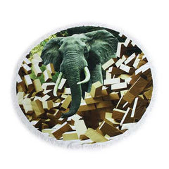 150cm 3D Elephants Printing Microfiber Bath Beach Towel Soft Quick Drying Round Washcloth