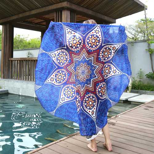 145cm Round Blue Fish Print Thin Chiffon Beach Shawl Mat Mandala Tablecloth Bed Sheet Tapestry