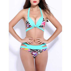Women Sexy Stripe Printing Push Up Underwire Backless Deep V Hollow Out Bikinis Set