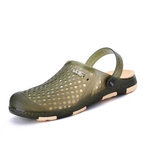 Men Antiskid Hollow Out Sandals Breathable Slip-on Beach Slippers
