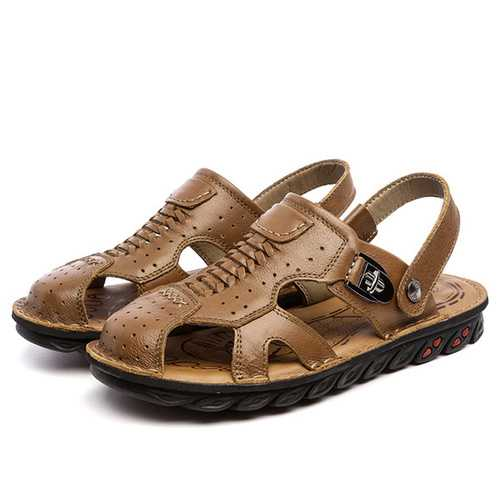 Men Weave Leather Sandals Casual Breathable Shoes
