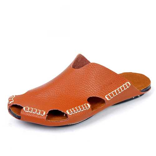 Men Handmade Hole Sandals Light Leather Cool Slippers