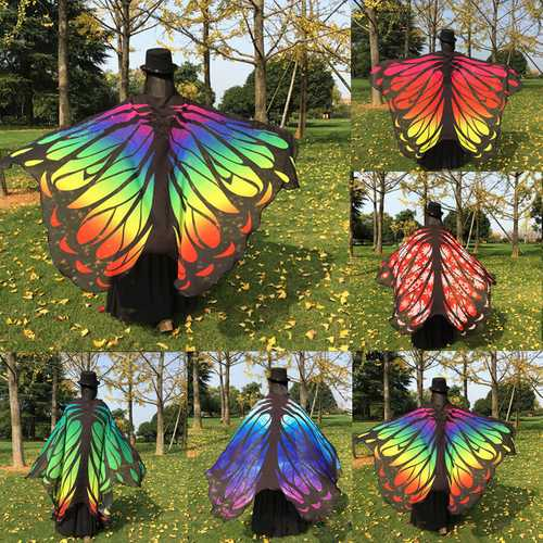 Honana WX-88 135x200cm Butterfly Bohemian Chiffon Beach Women Shawl Skirt Beach Mat Tapestry