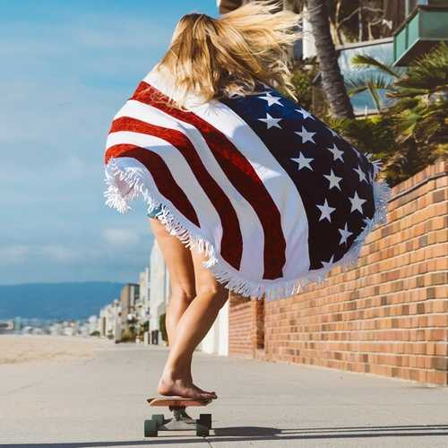 Honana WX-93 Bohemian Tapestry The American Flag Beach Towels Yoga Mat Camping Mattress Bikini Cover