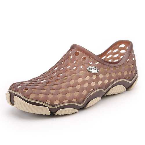 Men Beach Sandals Flat Outdoor Slip On Hollow Out Shoes