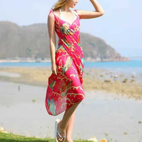 Women Lady Girls Summer Chiffon Floral Print Beach Gowns Long Sun Protaction Shawl Beach Towel
